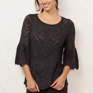 B2G1 NWT Lauren Conrad Gray Bell Sleeve Sweater